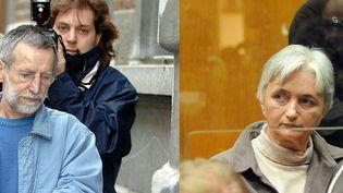 Michel Fourniret et Monique Olivier, son ex-épouse. (YVES BOUCAU/EPA/MAXPPP - DENIS CHARLET/AFP)