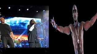 Dr. Dre, Snoop Dogg et l'hologramme de Tupac  (Brandon Clark/AP/SIPA)
