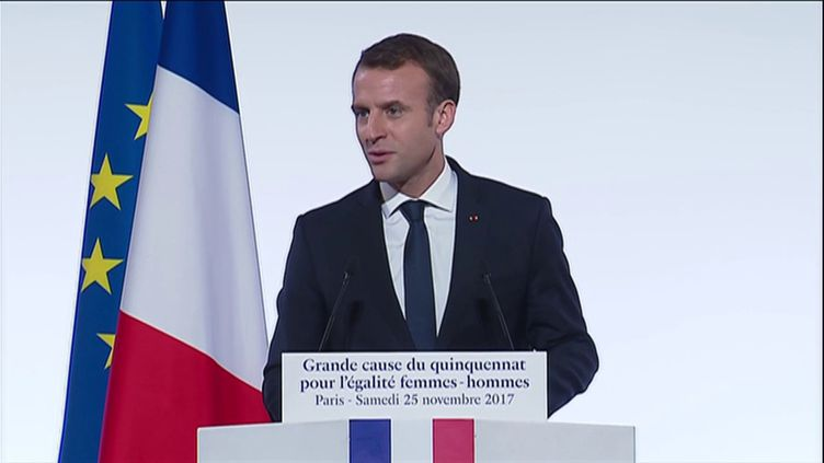 Emmanuel Macron s'exprime à l'Elysée, le 25 novembre 2017. (FRANCEINFO)