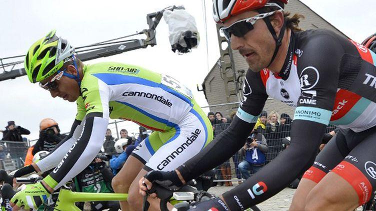 Fabian Cancellara et Peter Sagan au Tour des Flandres (DIRK WAEM / BELGA MAG)