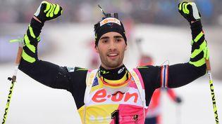 Martin Fourcade est l'une des meilleures chance de médaille pour la France. En tête de la Coupe du monde de biathlon, il a remporté le 15 kmle 5 janvier dernier àOberhof (Allemagne). (MARTIN SCHUTT / AFP)