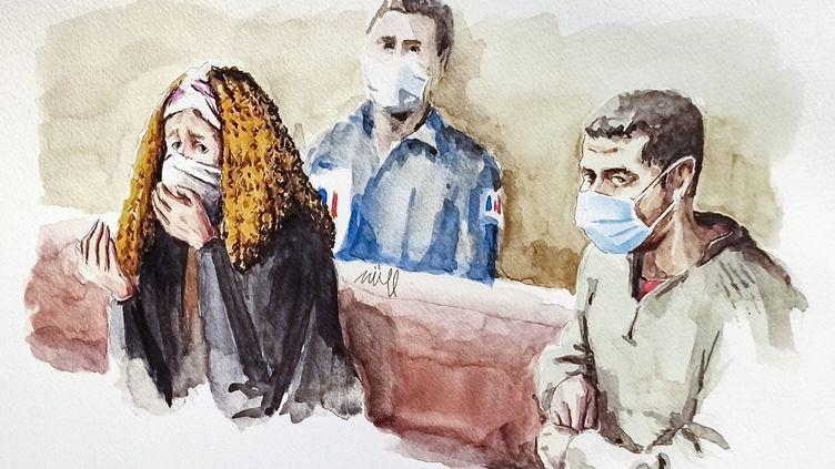 La mère de Fiona, Cécile Bourgeon, et son ex-compagnon Berkane Makhlouf, représentés sur un croquis du procès en appel à la cour d'assises de Lyon, le 4 décembre 2020. (ZZIIGG / AFP)