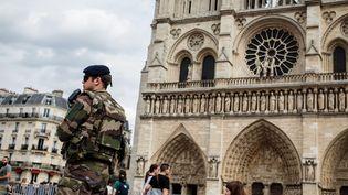 Des militaires devant la cathédrale Notre-Dame à Paris, le 27 juillet 2016. (MAXPPP)