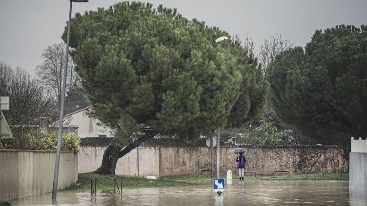 Des inondations à Carcassonne (Aude), le 23 janvier 2020. (IDRISS BIGOU-GILLES / HANS LUCAS)
