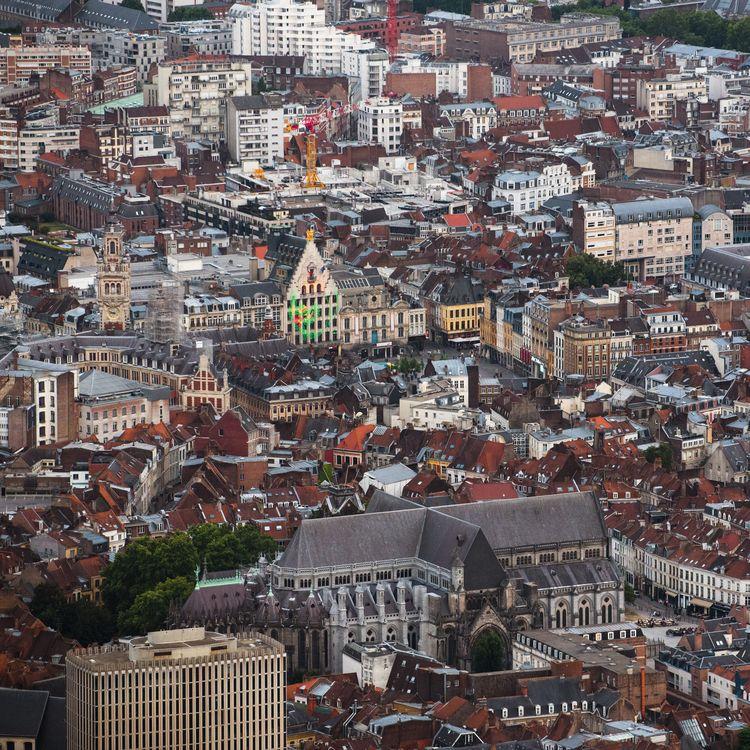 Vue aérienne de Lille, le 9 juillet 2019. (JULIE SEBADELHA / HANS LUCAS / AFP)
