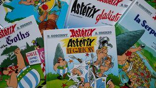 Des albums d'Astérix, en mars 2020. (RICCARDO MILANI / HANS LUCAS / AFP)