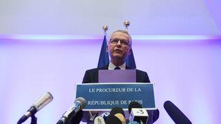Le procureur de Paris, Rémy Heitz, le 12 décembre 2018, lors d'une conférence de presse sur l'attaque à Strasbourg, depuis le tribunal de grande instance de Strasbourg. (PATRICK HERTZOG / AFP)