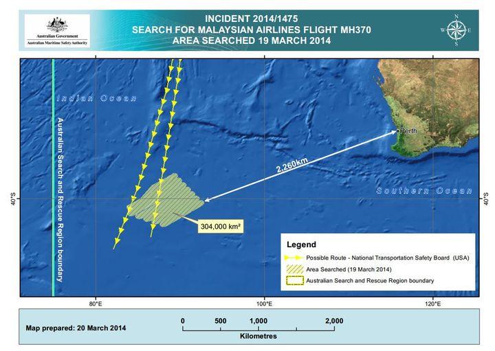 La zone de recherches australienne, sur le site de l'Autorité australienne de sécurité maritime (AMSA), jeudi 20 mars 2014. (AMSA.GOV.AU)