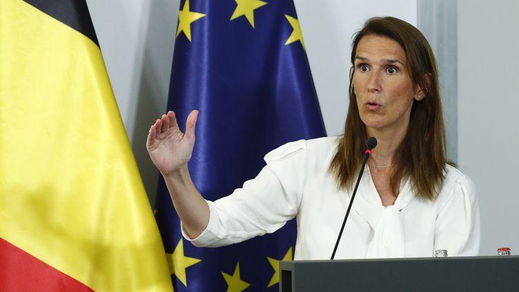 La Première ministre belge Sophie Wilmès, le 27 juillet 2020 à Bruxelles. (FRANCOIS LENOIR / BELGA MAG / AFP)