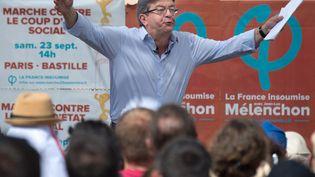 Jean-Luc Mélenchon à Marseille, le 27 août 2017. (BERTRAND LANGLOIS / AFP)