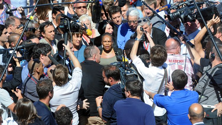 La ministre de la Justice, Christiane Taubira, le 24 août 2013, à l'université d'été du PS à La Rochelle. (XAVIER LEOTY / AFP)