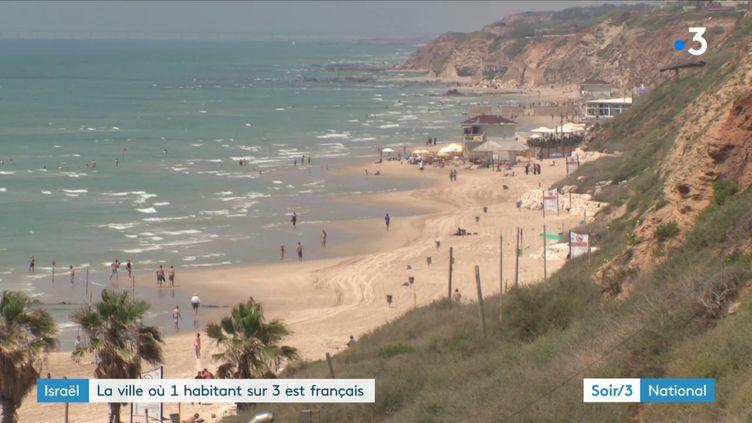 Une plage de Netanya (Israël) (France 3)