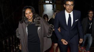 Sur cette photo datée du 5 mars 2015, Isabel dos Santos et son mari, collectionneur d'art, Sindika Dokolo, se rendent à une cérémonie enl'honneur de ce dernier à la mairie de Porto (Portugal). (PAULO DUARTE/AP/SIPA / SIPA)