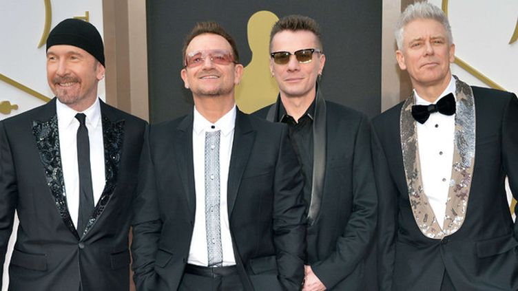 U2 aux 86e Grammy Awards, mars 2014.  (Kevin Dietsch / Newscom / Sipa )