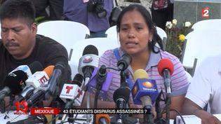 Gisela, la mère de l'un des 43 étudiants mexicains disparus, lors d'une conférence de presse. (FRANCE 2 )