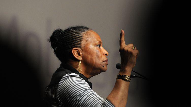 Christiane Taubira, la ministre de la Justice, le 24 août 2013 à La Rochelle (Charente-Maritime). (ALAIN JOCARD / AFP)