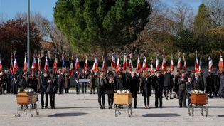 Les funérailles des trois victimes civiles de l'attaque terroriste de Trèbes, célébrées le 29 mars 2018 àTrèbes (Aude). (ERIC CABANIS / AFP)