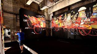 Street Art dans une ancienne base sous-marine allemande à Bordeaux (2018)  (GEORGES GOBET / AFP)