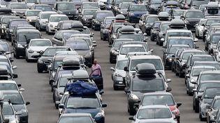 Des voitures bloquées sur l'autoroute A7, le 1er août 2015. (PHILIPPE DESMAZES / AFP)