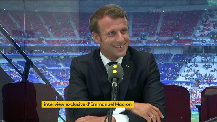Emmanuel Macron sur franceinfo le 7 juillet 2019. (FRANCEINFO / RADIOFRANCE)