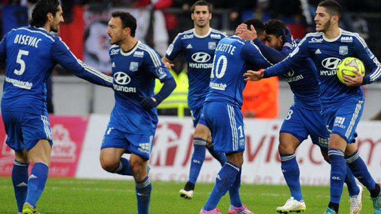 La joie des joueurs lyonnais lors du match contre Evian TG