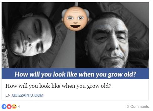 Cette application Facebook permet à l'utilisateur de vieillir sa photo de profil. (FACEBOOK.COM)