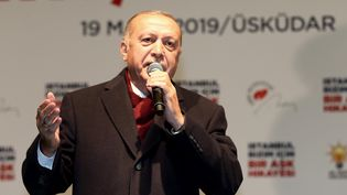 Recep Tayyip Erdogan, le 19 mars 2019, à Istanbul (Turquie). (ONUR COBAN / ANADOLU AGENCY / AFP)