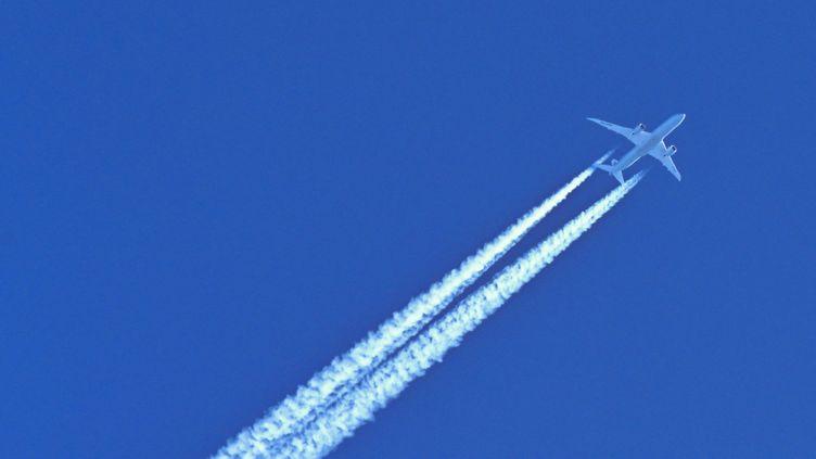 Un avion laisse des traînées de condensation dans le ciel, le 3 mars 2021. (PATRICK PLEUL / DPA-ZENTRALBILD / AFP)