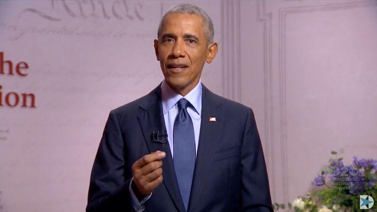 Convention nationale du parti démocrate où l'ancien président américain Barack Obama s'est exprimé depuis Philadelphie en Pennsylvanie. (DEMOCRATIC NATIONAL CONVENTION / AFP)