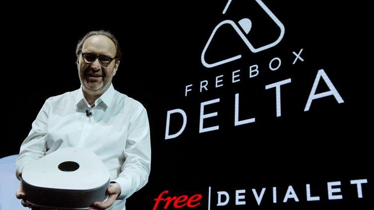Le fondateur de Free, Xavier Niel, présente la Freebox Delta à Paris, le 4 décembre2018. (ERIC PIERMONT / AFP)