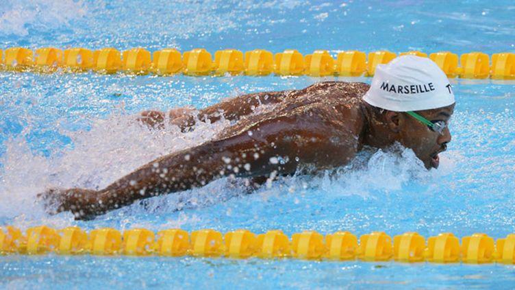 (Mehdy Metella, membre du relais français sur 4x100m 4 nages avec Camille Lacourt, Giacomo Perez Dortona et Fabien Gilot  © MAXPPP)