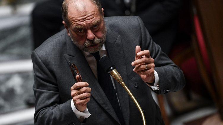 Le ministre de la Justice, Eric Dupond-Moretti, lors des questions au gouvernement, à l'Assemblée nationale, le 6 octobre 2020. (CHRISTOPHE ARCHAMBAULT / AFP)
