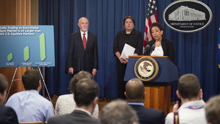 """(Les personnes inculpées """"ont corrompu le football mondial"""" Loretta Lynch, ministre américaine de la Justice © MAXPPP)"""