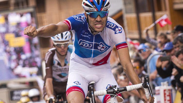 Thibaut Pinot lors d'une victoire au Dauphiné le 11 juin 2016.