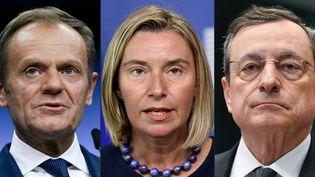 De gauche à droite : Donald Tusk,Federica Mogherini, Mario Draghi et Jean-Claude Juncker. (photo d'illustration) (JOHN THYS / AFP)