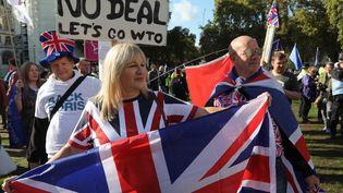 Des manifestants défilent pour réclamer un nouveau référendum sur le Brexit, le 19 octobre 2019 à Londres. (ISABEL INFANTES / AFP)