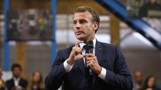Emmanuel Macron, le 10 septembre 2019 àBonneuil-sur-Marne (Val-de-Marne). (LUDOVIC MARIN / AFP)