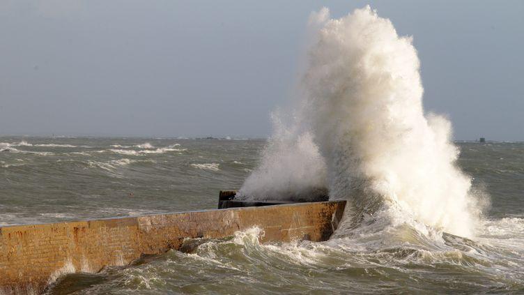 Sur une digue de Lomener (Morbihan), le 13 décembre 2011. (FRANCOIS DESTOC / LE TELEGRAMME / PHOTOPQR / MAXPPP)
