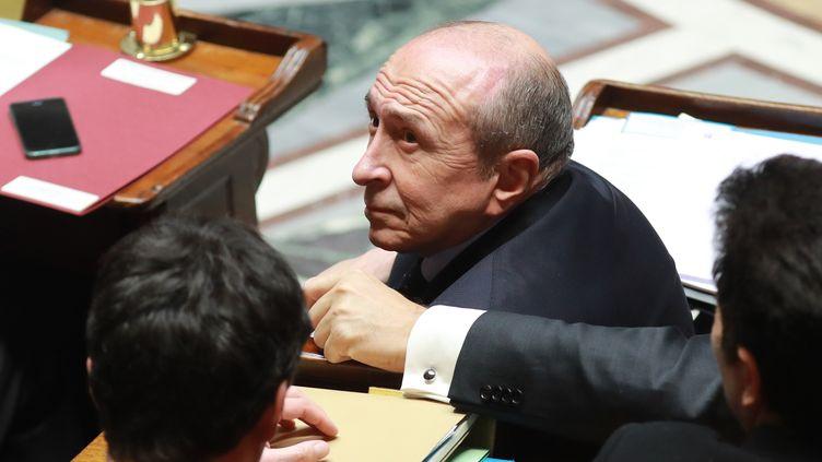 Le ministre de l'Intérieur, Gérard Collomb, le 21 février 2018 à l'Assemblée nationale. (JACQUES DEMARTHON / AFP)