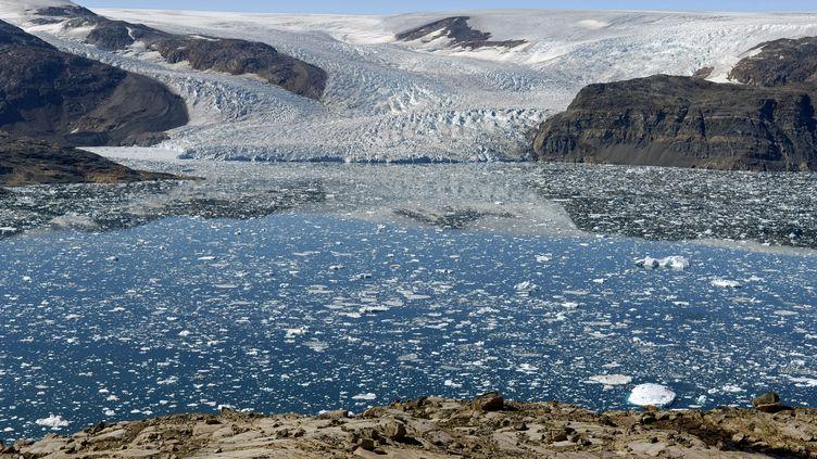 Le glacier de Bruckner au Groenland, le 12 août 2018. (PHILIPPE ROY / PHILIPPE ROY / AFP)