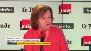 Nathalie Loiseau, ministre chargée des Affaires européennes était l'invitée de France Inter, du Monde et franceinfo le dimanche 24 juin 2018. (FRANCEINFO)