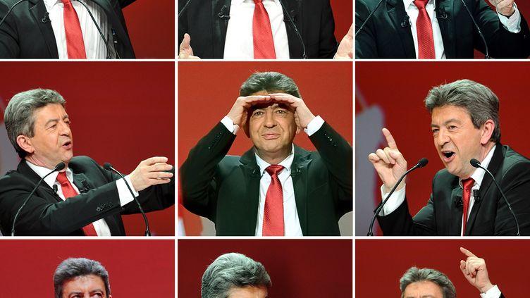 Le candidat Front de gauche,Jean-Luc Mélenchon, lors d'un discours à Lille (Nord), le 27 mars 2012. (PHILIPPE HUGUEN / AFP)