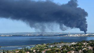 Le site de LyondellBasell touché par un incendie, le 14 juillet 2015, à Berre-l'Etang (Bouches-du-Rhône). (BORIS HORVAT / AFP)