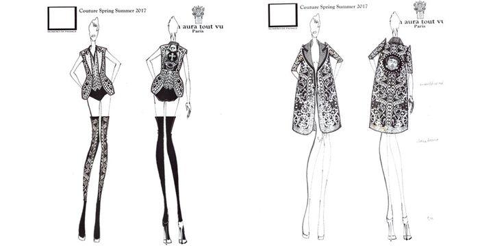 Croquis de la collection coutureOtohime du duo de créateurs deOn Aura Tout Vu pour leprintemps-été 2017  (On Aura Tout Vu)