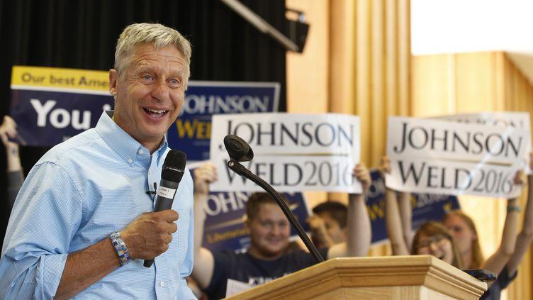 Le candidat libertarien à la présidentielle américaine, Gary Johnson, lors d'un meeting à Salt Lake City (Utah), le 6 août 2015. (GEORGE FREY / GETTY IMAGES NORTH AMERICA / AFP)