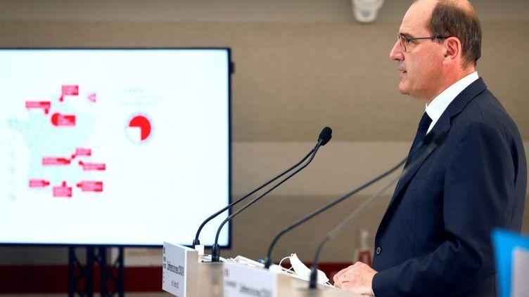 Le Premier ministre, Jean Castex, lors d'une conférence de presse, le 15 octobre 2020 à Paris. (LUDOVIC MARIN / AFP)