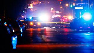 Des véhicules de police encerclent la voiture de deux suspects, après une fusillade à San Bernardino, en Californie (Etats-Unis), le 2 décembre 2015. (MIKE BLAKE / REUTERS)