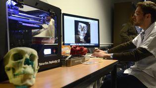 Un employé prépare la reproduction en 3D d'un crâne au Centre hospitalier universitaire (CHU) de Dijon (Côte-d'Or), le 12 mars 2014. (JEAN-PHILIPPE KSIAZEK / AFP)