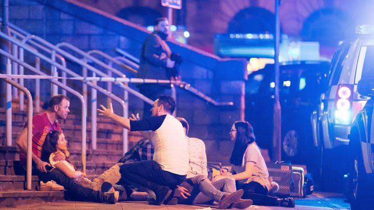 Attentat terroriste à la Manchester Arena (Grande-Bretagne), le 22 mai 2017. (MAXPPP)
