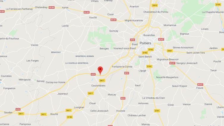Les deux chauffeurs ont été controlés à hauteur de Coulombiers, sur l'A10, au sud de Poitiers. (GOOGLE MAPS)